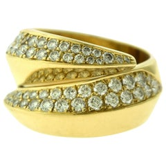 Cartier Coup d'Eclat Double Swirl Diamond Ring in Yellow Gold