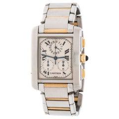 Cartier Cream 18K Yellow Gold Francaise Chronoflex 2303 Men's Wristwatch 28mm