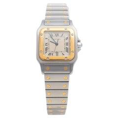 Cartier Cream 18K Yellow Gold Santos De Cartier Women Wristwatch 29 mm