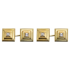 Cartier Cufflinks Stepped Design in 18 Karat Gold and Diamond, French circa 1960