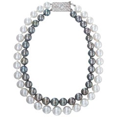 """Cartier"" Cultured Pearl and Diamond Clasp Necklace"