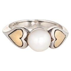 Cartier Cultured Pearl Ring Hearts 18 Karat Gold Sterling Silver 5.25 Estate