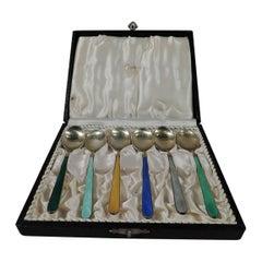 Cartier Danish Modern Gilt Sterling Silver & Enamel Demitasse Spoons