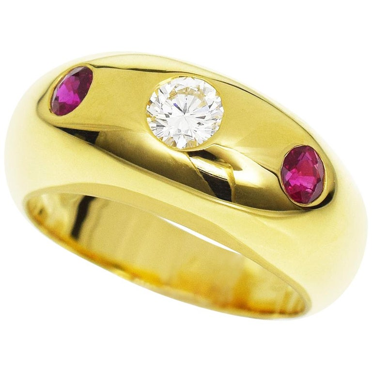 88fd37f794ab Cartier Daphne Diamond Ruby 18 Karat Yellow Gold Ring For Sale at ...