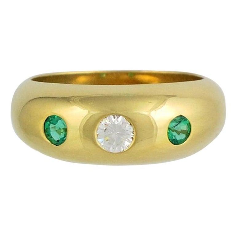 Cartier Daphnée Diamond Emeralds 18 Carat Yellow Gold Ring