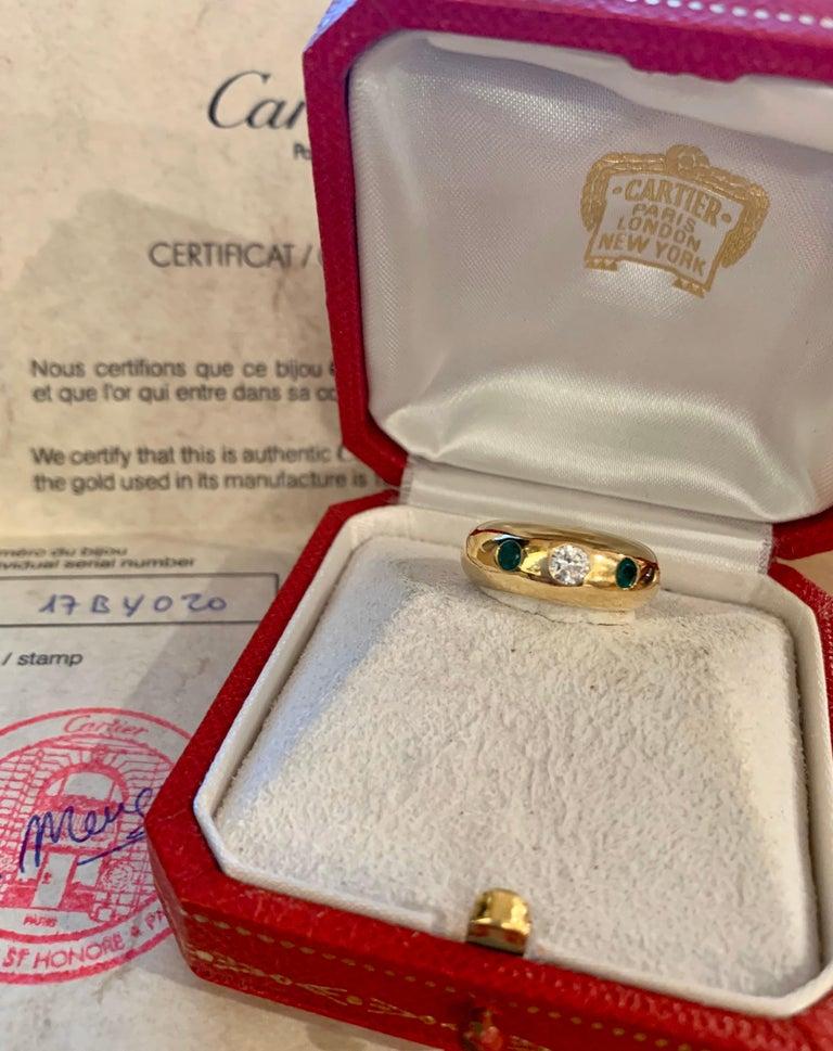 Retro Cartier Daphnée Diamond Emeralds 18 Carat Yellow Gold Ring