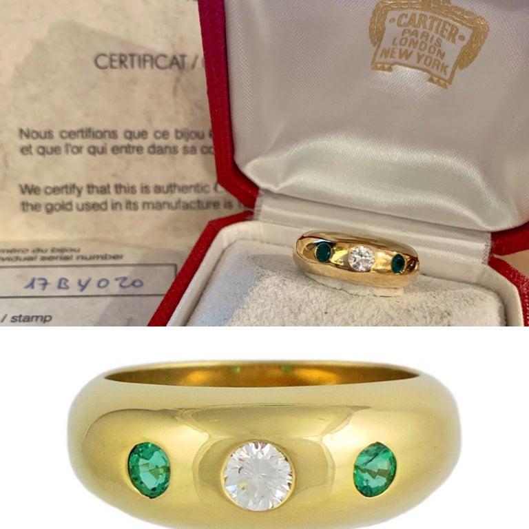Cartier Daphnée Diamond Emeralds 18 Carat Yellow Gold Ring In Excellent Condition In Paris, FR