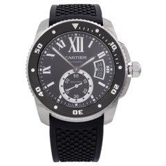 Cartier De Calibre Steel Rubber Black Roman Dial Automatic Men's Watch W7100056