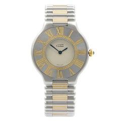 Cartier de Must 21 Steel Blue Hands Silver Dial Quartz Ladies Watch 9010