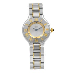 Cartier de Must 21 Steel Gold Silver Dial Quartz Ladies W10073R6