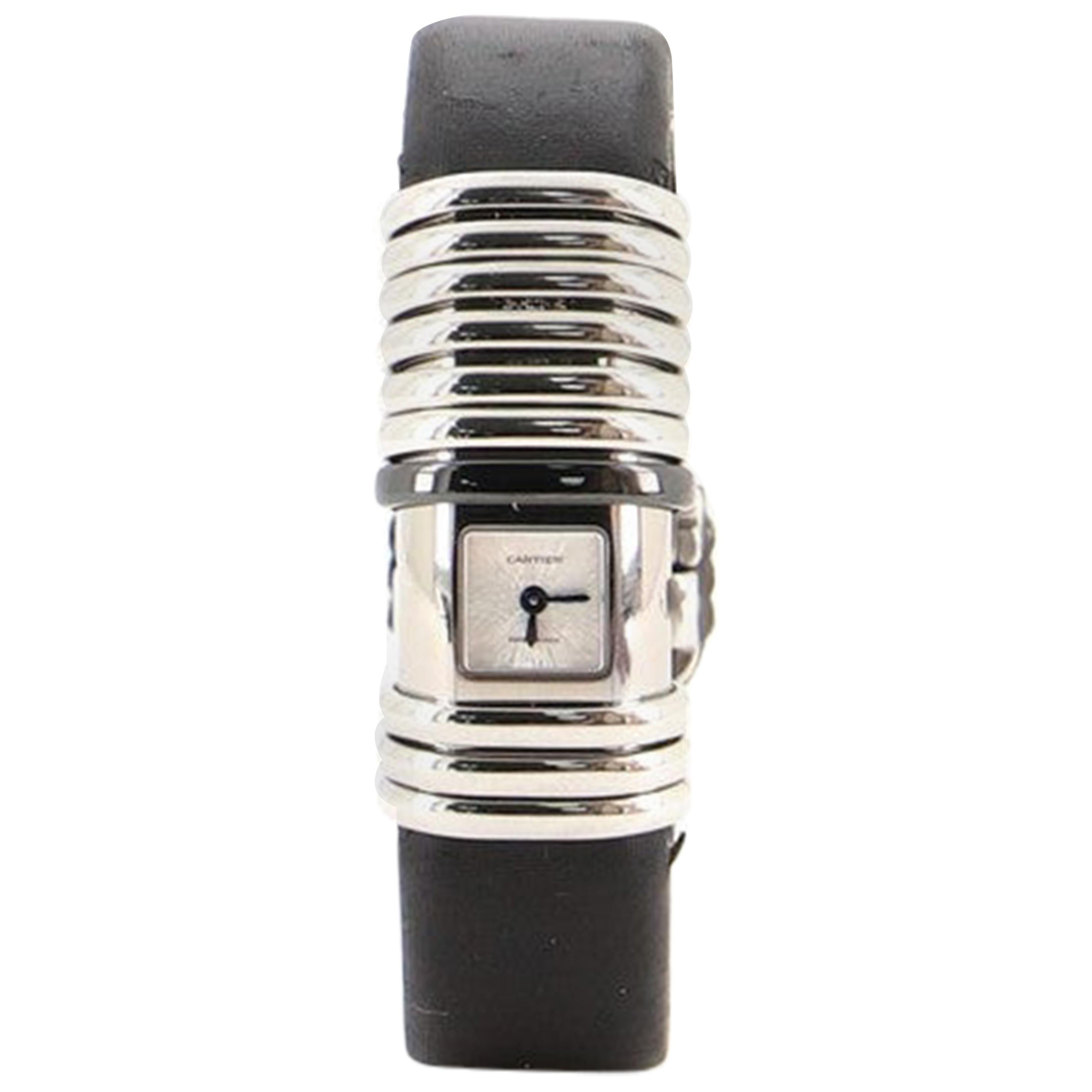 Cartier Declaration Quartz Watch Stainless Steel and Satin Leather with Diamonds