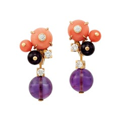 Cartier 'Delice de Goa' Earrings with Amethyst, Diamonds and Coral in 18K Gold