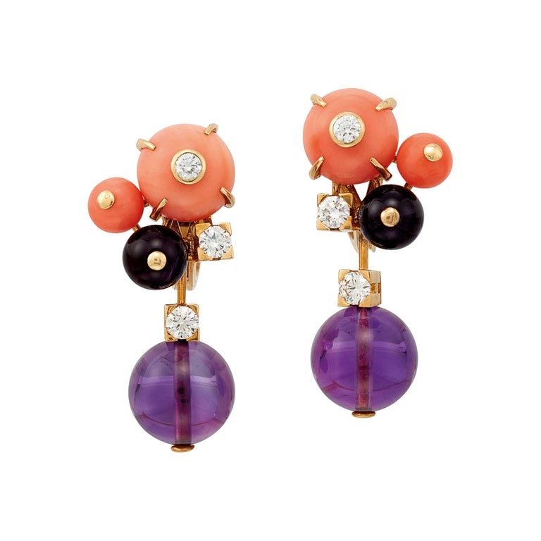 Cartier 'Delice de Goa' Earrings with Amethyst, Diamonds and Coral in 18K Gold For Sale