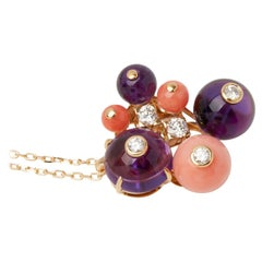 Cartier 'Delice de Goa' Necklace with Amethyst, Diamonds and Coral in 18K Gold