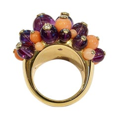 Cartier 'Delice de Goa' Ring with Amethyst, Diamonds and Coral in 18k Gold