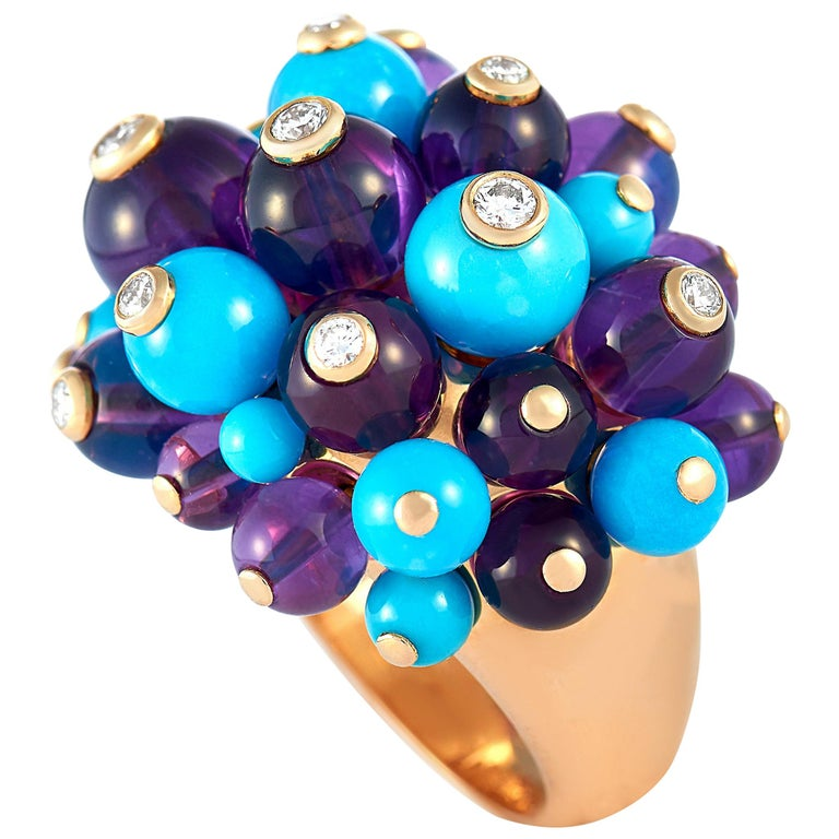 Cartier Delices 18 Karat Gold, 0.65 Carat Diamond, Turquoise and Amethyst Ring For Sale