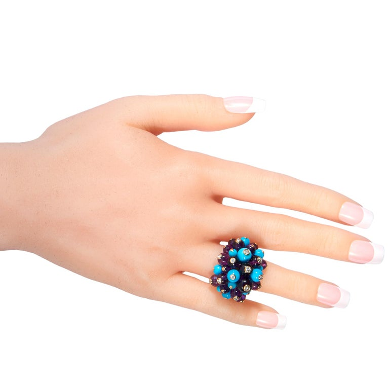 Cartier Delices 18 Karat Gold, 0.65 Carat Diamond, Turquoise and Amethyst Ring In Excellent Condition For Sale In Southampton, PA