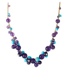 Cartier Delices 18K Yellow Gold 0.70 ct Diamond, Turquoise and Amethyst Necklace