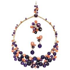 "Cartier ""Delices de Goa"" 18K Coral Amethyst Diamond Necklace Earring Ring Set"
