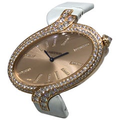 Cartier Delices XL Rose Gold Diamond Ladies Leather Band Watch W800020 New