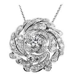 Cartier Designer Flora and Fauna, Platinum Diamond 'Flower-head' Brooch/Pendant