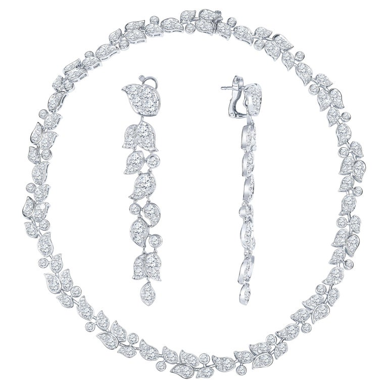 "Cartier  ""Lily Of The Valley"" Diamond Necklace  Earring Set For Sale"