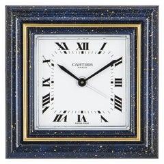 Cartier Desk Clock Brass Lapis Enamel