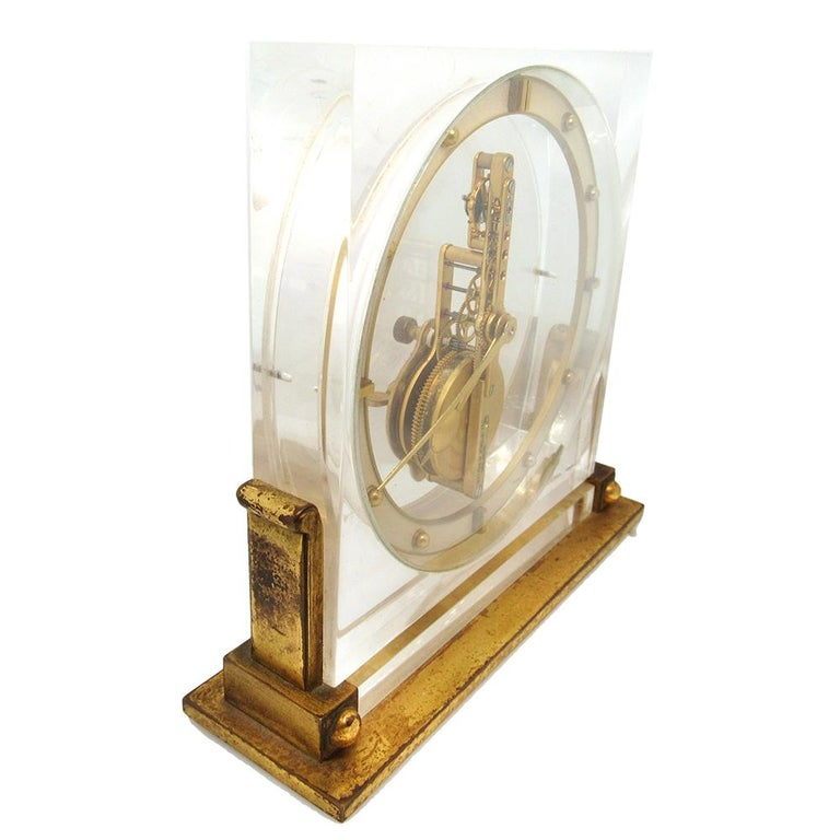 Cartier Desk Clock by European Watch & Clock Co., circa 1950s In Fair Condition For Sale In New York, NY