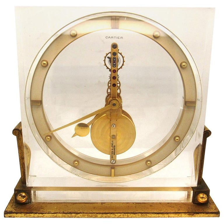 Cartier Desk Clock by European Watch & Clock Co., circa 1950s For Sale