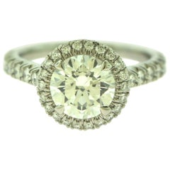 Cartier Destinee Solitaire GIA Diamond Platinum Ring 1.60 Carat Papers