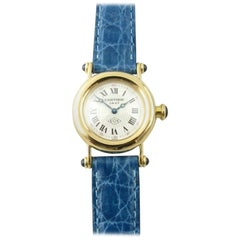 Cartier Diabolo 18 Karat Gold 150 Anniversary Ladies Watch 14400 Blue Band