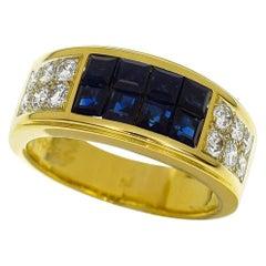 Cartier Diabolo Invisible 18 Karat Yellow Gold Set Blue Sapphire Diamond Ring