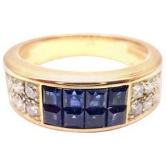 Cartier Diabolo Invisible Set Sapphire Diamond Yellow Gold Band Ring