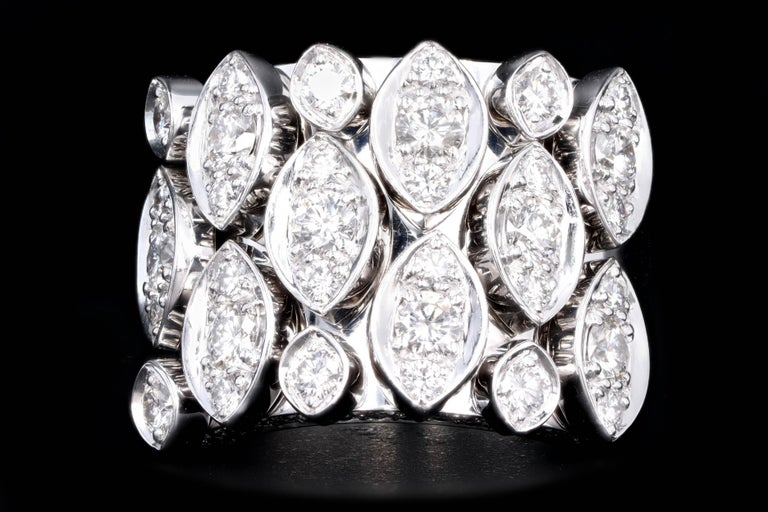 Era: Modern  Designer: Cartier  Collection: Diadea  Composition: 18K White Gold  Primary Stone: Round Brilliant Cut Diamonds  Carat Weight: 1.62 Carats  Color/Clarity: F/G - VS1/2  Ring Weight: 21.8 Grams  Ring Size: 6  Serviced by Cartier in