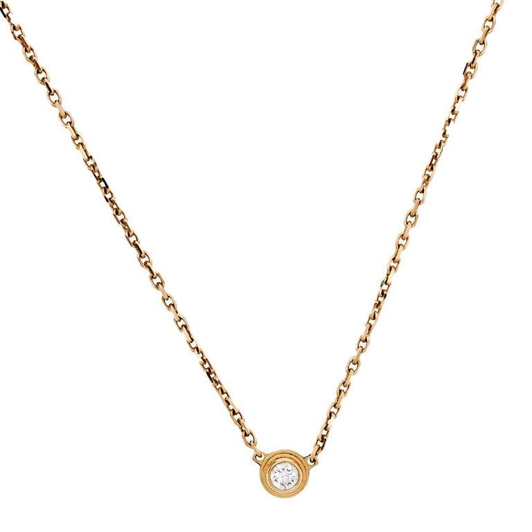 Cartier Diamants Légers Diamond 18k Rose Gold Necklace XS For Sale