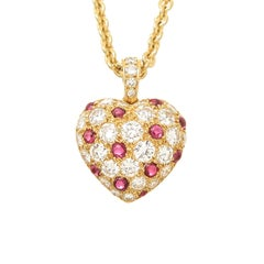 Cartier Diamond and Ruby Heart Pendant Necklace