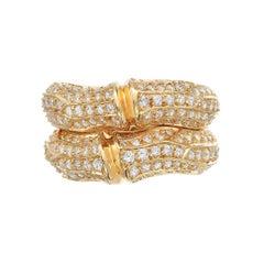 Cartier Diamond 18 Karat Gold Bamboo Two Row Ring