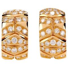 Cartier Diamond 18 Karat Gold Chevron Vintage Clip-On Hoop Earrings