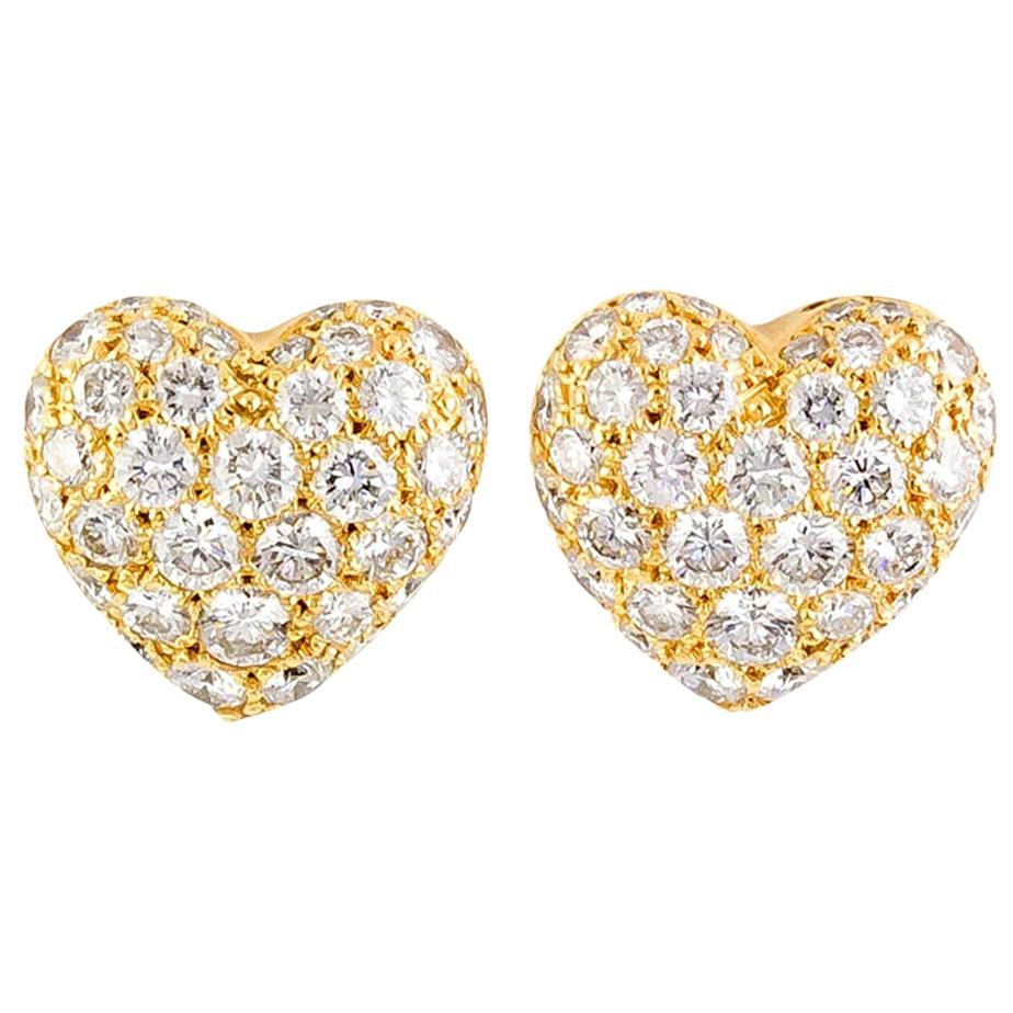 Cartier Diamond 18 Karat Gold Heart Shaped Stud Earrings