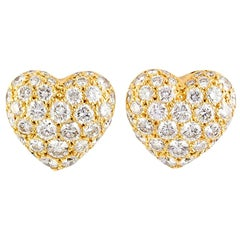 Cartier Diamond 18 Karat Gold Heart Shaped Stud Earrings