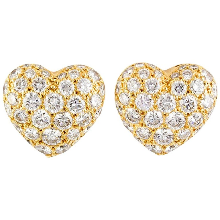 Cartier Diamond 18 Karat Gold Heart Shaped Stud Earrings For Sale