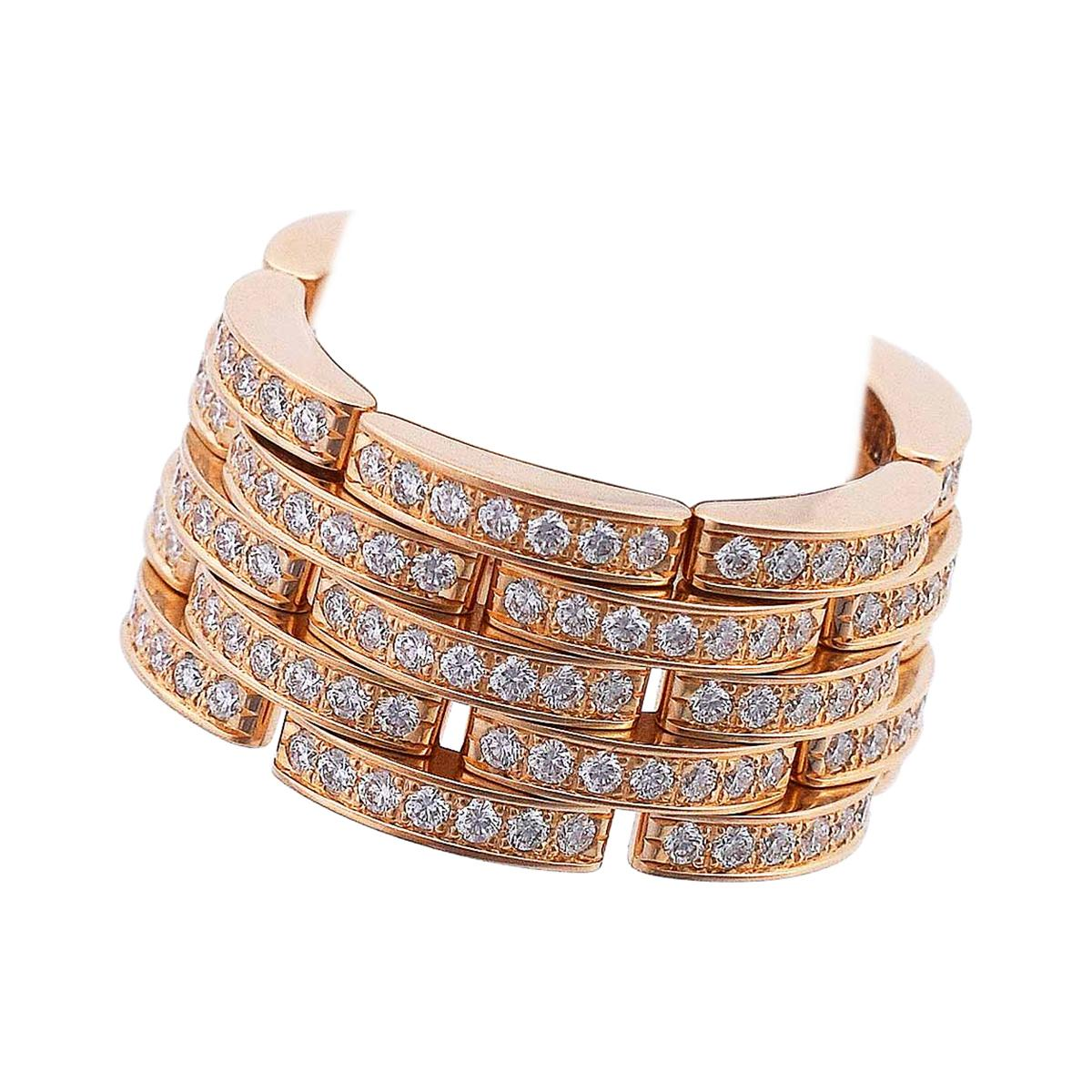 Cartier Diamond 18 Karat Pink Gold Maillon Panthere Ring
