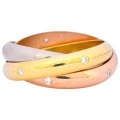 Cartier Diamond 18 Karat Tri-Gold Trinity Rolling Ring