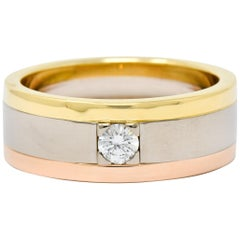 Cartier Diamond 18 Karat Tri-Gold Trinity Unisex Band Ring