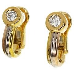 Cartier Diamond 18 Karat trinity Yellow White Pink Gold Monotone Earrings