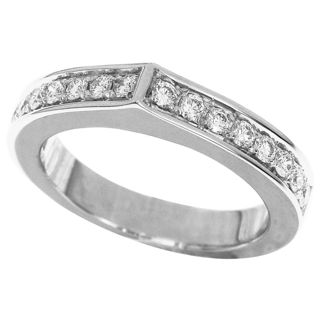 Cartier Diamond 18 Karat White Gold C Flat Ring US 5 3/4