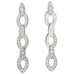 Cartier Diamond 18 Karat White Gold French Diadea Drop Earrings