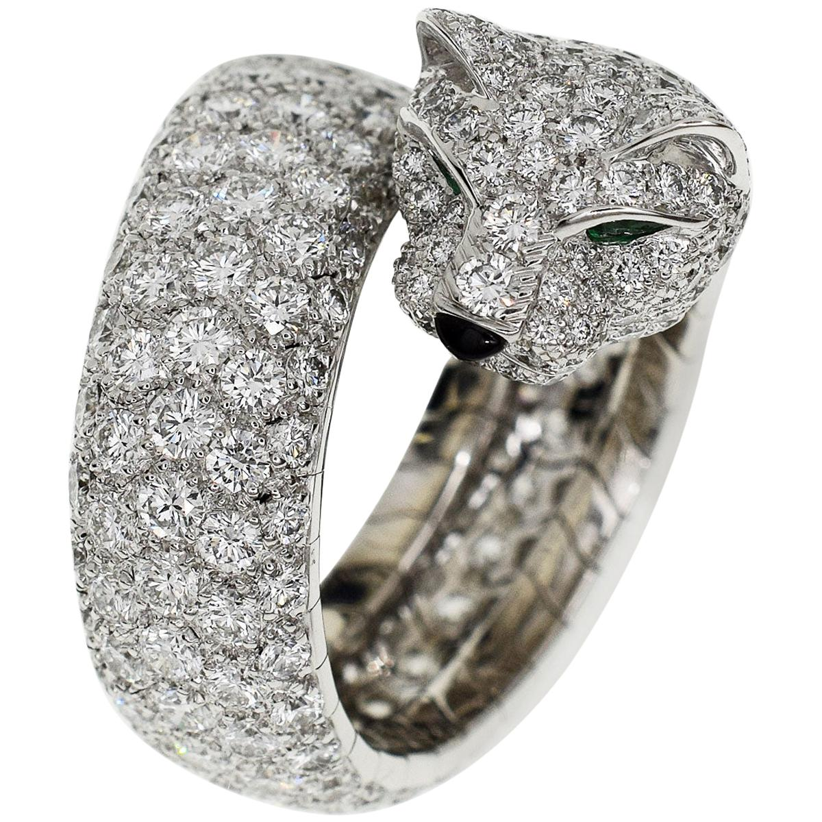 Cartier Diamond 18 Karat White Gold La Calda Panthere de Ring