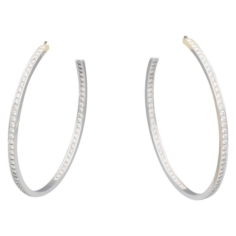 Cartier Diamond 18 Karat White Gold Large Hoop Earrings For Sale
