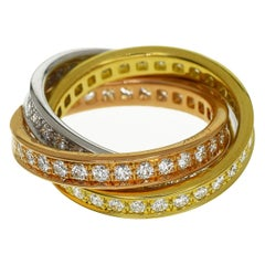 Cartier Diamond 18 Karat Yellow and White Pink Gold 3-Row Trinity Ring US 4 1/2